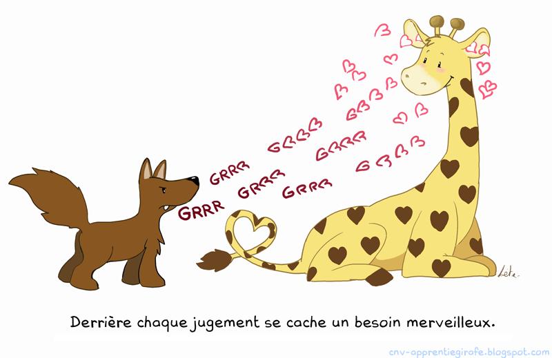 dessin d'une girafe qui transfiorme en amour les mots d'un chacal